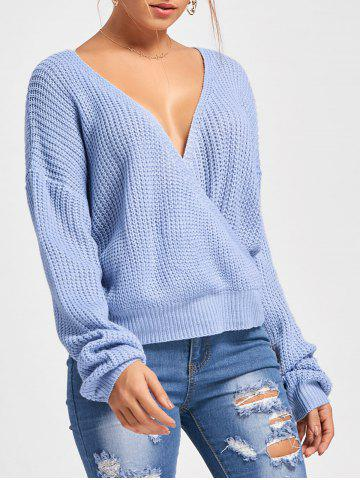 Back Cut Out Deep V Neck Oversized Sweater