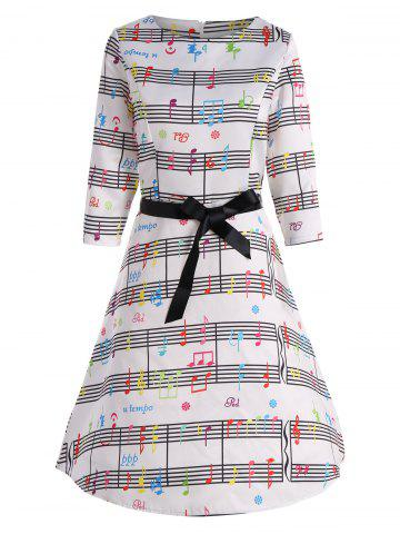 Outfit Vintage Music Note A Line Dress
