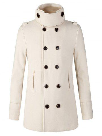 Shops Stand Collar Double Breasted Woolen Peacoat