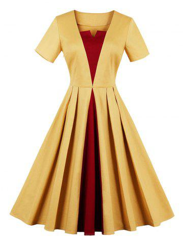 Vintage Color Block Fit et Flare Dress