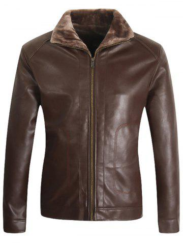 Borg Collar Zip Up Faux Leather Jacket