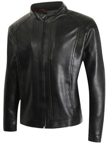 Faux Leather Zip Up Casual Jacket