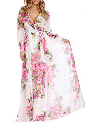 Unique Floral Low Cut Surplice Long Flowy Dress