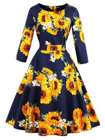 Fancy Vintage Sunflower Print Fit and Flare Dress