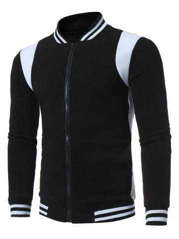 Color Block Varsity Stripe Fleece Zip Up Jacket