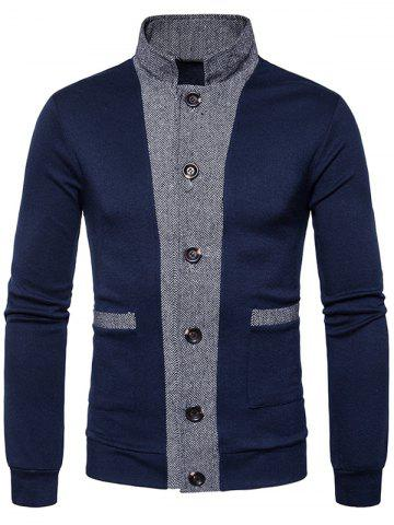 Color Block Panel Button Up Cardigan