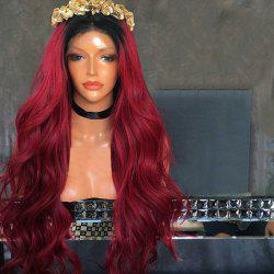 Long Middle Part Ombre Wavy Synthetic Lace Front Wig - WINE RED