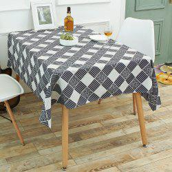 Checked Printed Linen Table Cloth - WHITE AND BLACK W55 INCH * L78 INCH