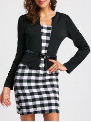 Stylish Round Collar Checked Print Faux Twinset With Belt Long Sleeve Women's Dress -