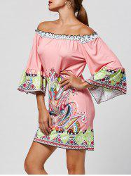 Off The Shoulder Paisley Printed Bohemian Dress -