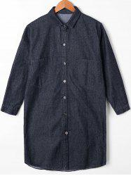 Button Up Patch Pocket Denim Shirt Coat - BLACK M