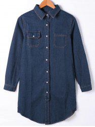 Flap Pocket Button Up Jean Chemise Manteau - Denim Bleu XL