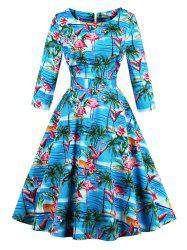 Vintage Flamingo Print Fit and Flare Swing Dress - BLUE S