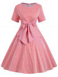 Vintage Double Pockets Stripe Bowknot Dress -