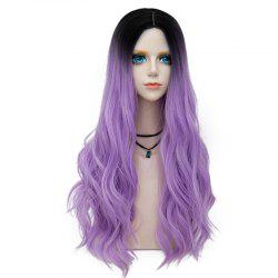 Long Layered Center Parting Wavy Synthetic Party Wig - PURPLE