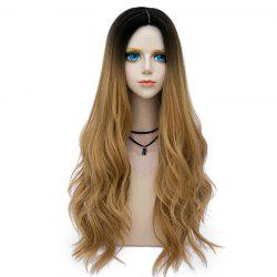 Long Layered Center Parting Wavy Synthetic Party Wig - GOLD BROWN