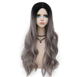 Long Layered Center Parting Wavy Synthetic Party Wig - GRAY