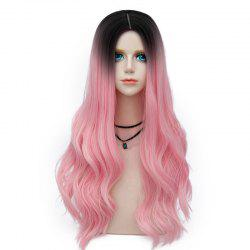 Long Layered Center Parting Wavy Synthetic Party Wig - WATER RED