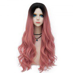 Long Layered Center Parting Wavy Synthetic Party Wig - DEEP PINK