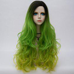 Long Side Parting Colormix Shaggy Layered Ombre Wavy Synthetic Party Wig - Émeraude