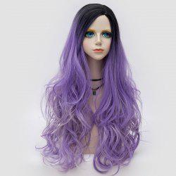 Long Side Parting Colormix Shaggy Layered Ombre Wavy Synthetic Party Wig -