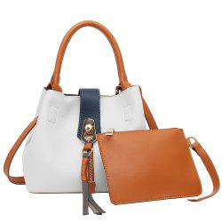 Color Block Tassel 2 Pieces Handbag Set - WHITE