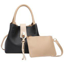 Color Block Tassel 2 Pieces Handbag Set - BLACK