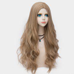 Long Layered Center Parting Wavy Synthetic Party Wig - LIGHT BROWN
