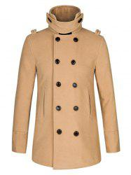 Stand Collar Double Breasted Woolen Peacoat - KHAKI 2XL