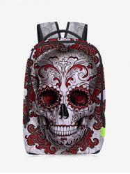 Zips Canvas Skull Backpack - RED