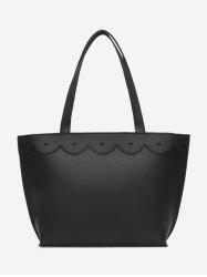 Heart Pattern PU Leather Shoulder Bag - BLACK