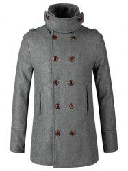 Stand Collar Double Breasted Woolen Peacoat - GRAY L