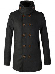 Stand Collar Double Breasted Woolen Peacoat - BLACK 2XL