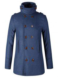 Stand Collar Double Breasted Woolen Peacoat - CADETBLUE 2XL