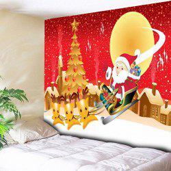Santa Sleigh Town Christmas Tree Wall Tapestry - Red - W79 Inch * L59 Inch