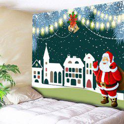 Christmas Bell Santa Claus Building Wall Tapestry -