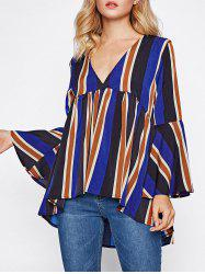 Striped Flare Sleeve Smock Top - COLORMIX S