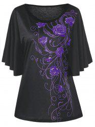 Plus Size Floral Drape Sleeve T-shirt - Purple - 5xl