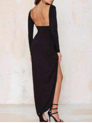Slit Open Back Long Sleeve Maxi Dress - Noir M