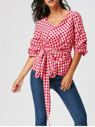 Tartan Tie Waist Surplice Blouse with Long Tail -
