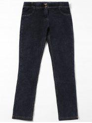 Topstitch Patch Pockets Straight Jeans - BLACK L