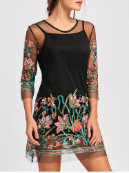 Sheer Embroidered Mesh Dress with Camisole - BLACK S