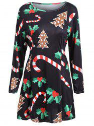 Long Sleeve Christmas Swing Dress - BLACK XL