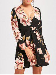Floral Print Belted Surplice Mini Dress - BLACK XL