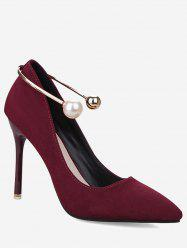 Stiletto Ankle Strap Faux Pearl Pumps - WINE RED 37