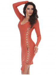Bodycon Lace-up Long Sleeve Bandage Dress - ORANGE M