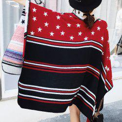Star and Stripe Pattern Faux Woolen Pashmina -