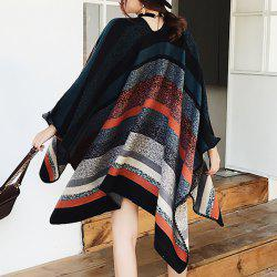 Stripe Pattern Color Block Faux Woolen Pashmina -