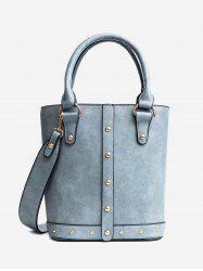 Faux Leather Rivet Tote Bag - BLUE