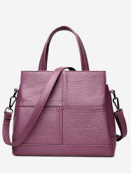 Faux Leather Cross Stitching Tote Bag - PURPLE